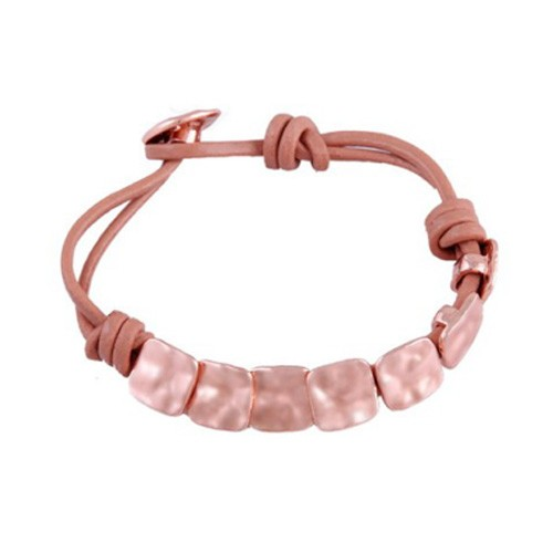 Funky Square Rose Gold Buttons Real Leather Bracelet