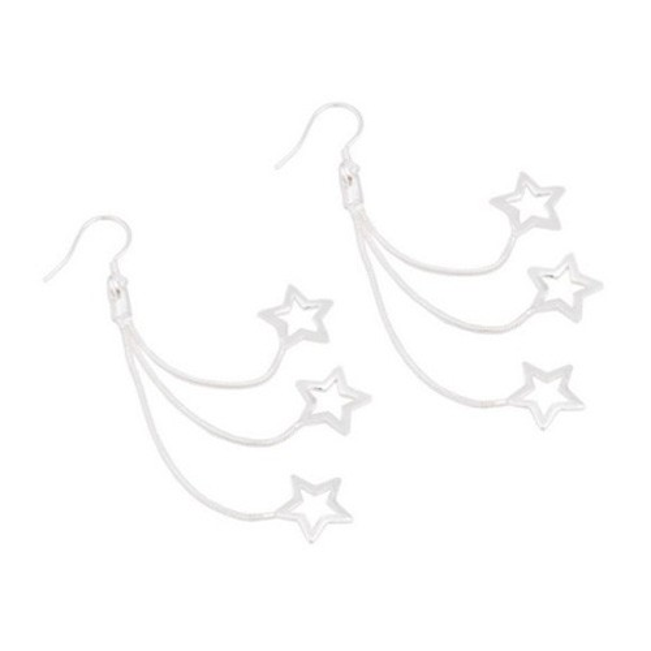 Long Silver Plated Multi Chain Star Drops Earrings