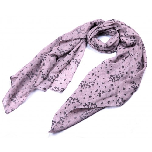 Small Black Butterfly Printed Scarf Dark Pink
