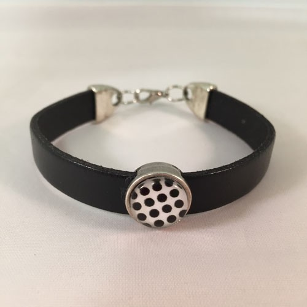 Handmade Black Leather Bracelet with a black and white stylish bead