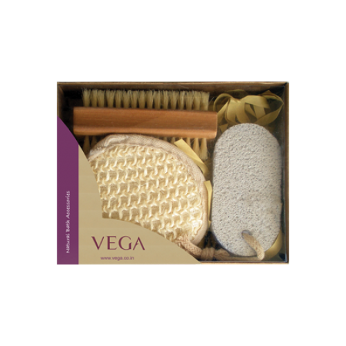Vega Natural Bath Set Sisal Bath Pad Nail Brush Pumice Stone
