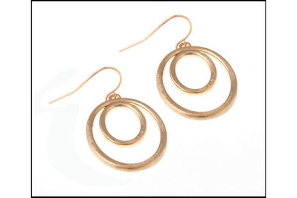 Double Circle Dangle Pale Gold Fine Earrings