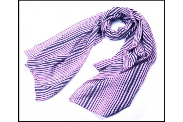 Multi-Lines Printed Lady Scarf Black & Pink