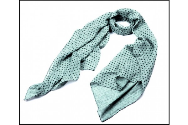 Fashion Women Small Black Polka Dots Printed Green Scarf