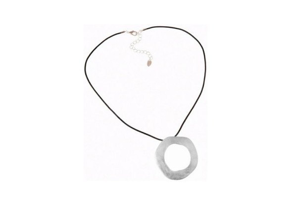 Fashion Ring Pendant Leather Necklace