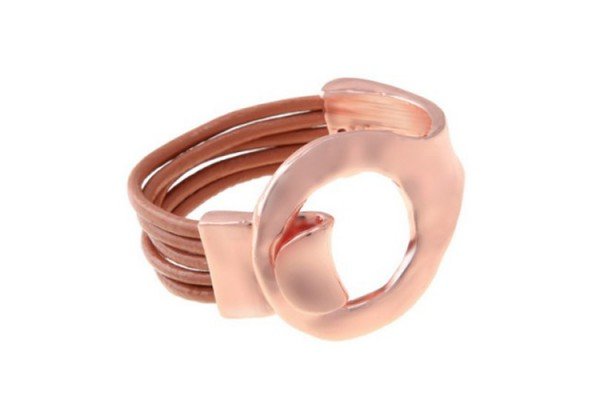 Chunky and Modern Buckle and Leather Rose Gold Bracelet
