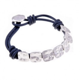Funky Square Pale Silver Buttons Real Leather Bracelet
