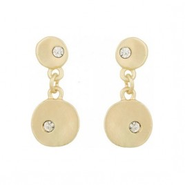 Pale gold crystal inlaid fashion drop earrings