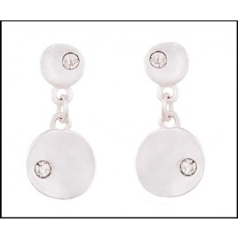 Pale silver crystal inalid fashion drop earrings