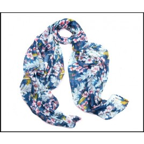 Elegant Lady Scarf Floral Blue Print
