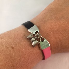 Handmade Black and Pink Leather Bracelet with a Bow Tie Pendant in the middle