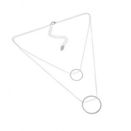 Lady Double Twin Thin Chain Ring Pendant Silver Color Necklace