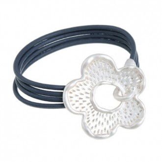 Large Pale Silver Flower Grey Real Leather Bracelet