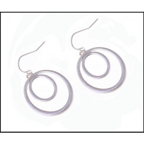 Double Circle Dangle Pale Silver Fine Earrings