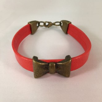 Handmade Bright Red Leather Bracelet with a Bow Tie Bead
