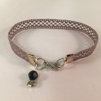 Handmade Dark Grey Lace Bracelet with Black Pearl and a Star attached to the Lobster Clasp
