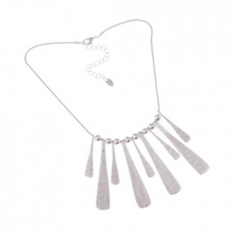 Elegant Chain Silver Plated Alloy Necklace with Multiple Pendants