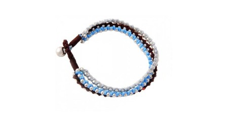 Sky blue dark brown white cotton cord hand woven bell button fastening bracelet