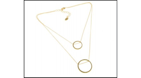 Lady Double Twin Thin Chain Ring Pendant Gold Color Necklace