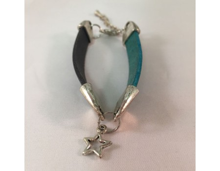 Handmade Black and Green Leather Bracelet with a Star Pendant in the midlde