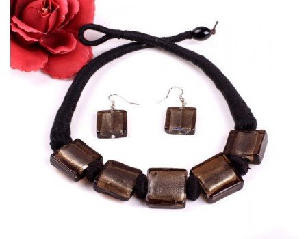 Black square handmade chunky glaze necklace button fastening with matching earrings set