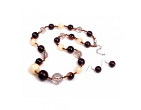 Brown cream transparent round chunky beads style long necklace with lobster claspand extender with matching brown round earrings set