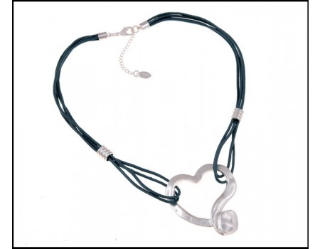 Heart Pendant Leather Necklace