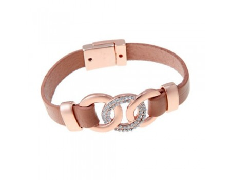 Crystal Inlaid Magnetic Leather Khaki and Rose Gold Bracelet